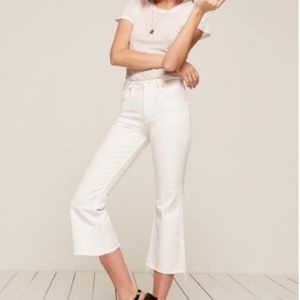 Reformation Mid-Rise Crop Flare White 27